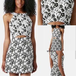 Topshop floral cut out high neck mini dress us10
